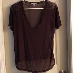 See through purple shirt